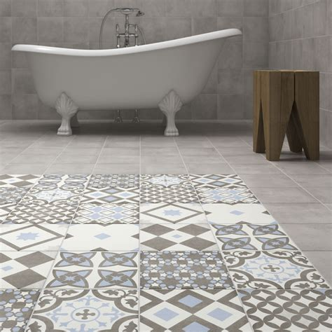 Blue Bathroom Floor Tile by Shop The Vibe Light Blue Patterned Wall And Floor Tiles