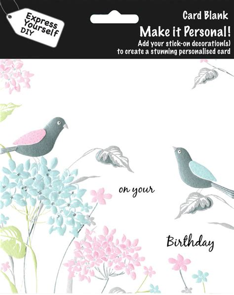 make personal cards make it personal blank card pastel birds flowers on