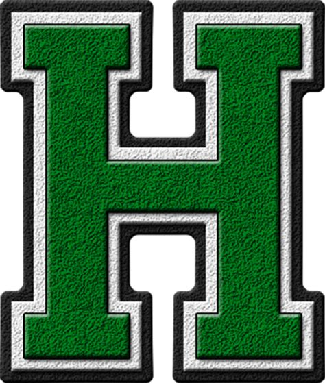 presentation alphabets: green varsity letter h