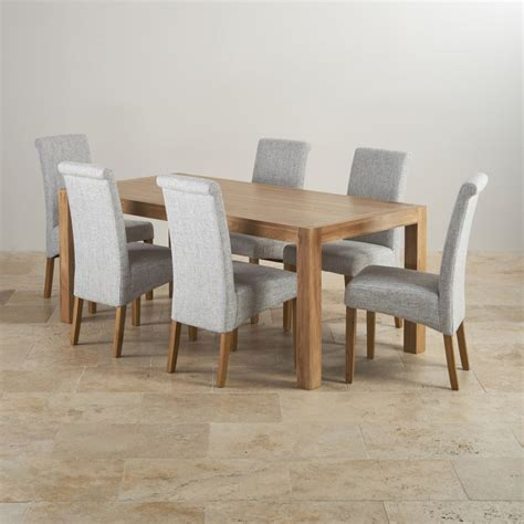 Dining Table 6 Fabric Chairs Alto Solid Oak 6ft Dining Table With 6 Grey Fabric Chairs
