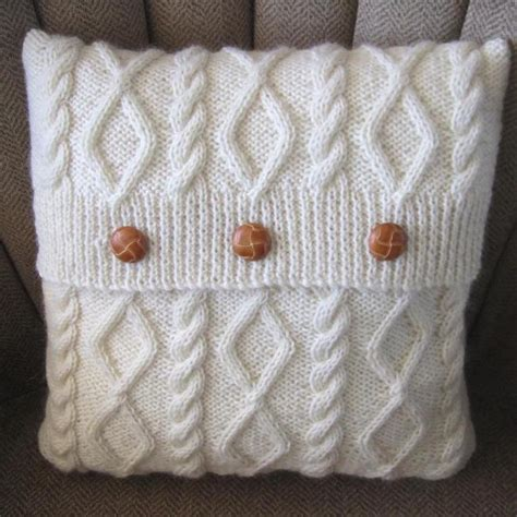 w and t knitting diamonds and cables knit pillow cover craftsy