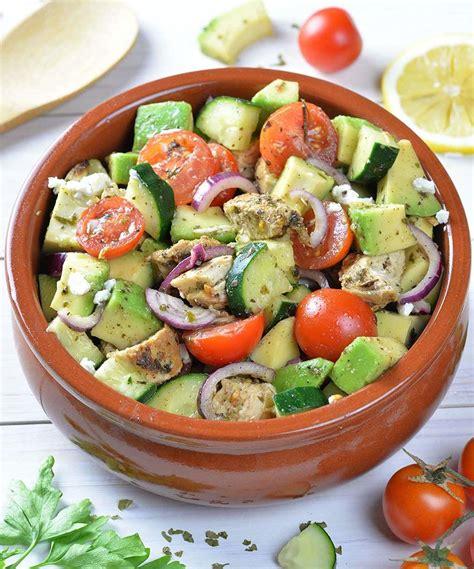 healthy salad recipes healthy chicken cucumber tomato and avocado salad omg