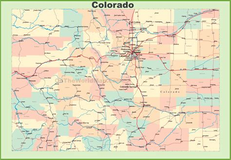 state map of colorado map of colorado with cities and towns