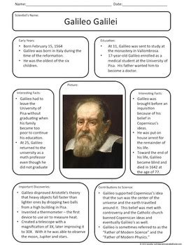 biography of galileo galilei pdf let s meet galileo galilei anchor chart by a house called