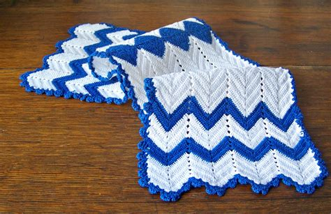Dresser Scarves And Doilies by Vintage Crochet Dresser Scarf Doily Royal Blue By