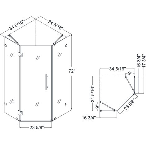 Bathroom Shower Sizes Dreamline Shen 2234340 Prismlux Neo Angle 34 5 16 X 34 5 16 Inch Frameless Hinged Shower