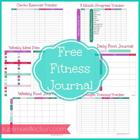 Free Downloadable Fitness Journal Sublime Reflection Fitness Tracker Template