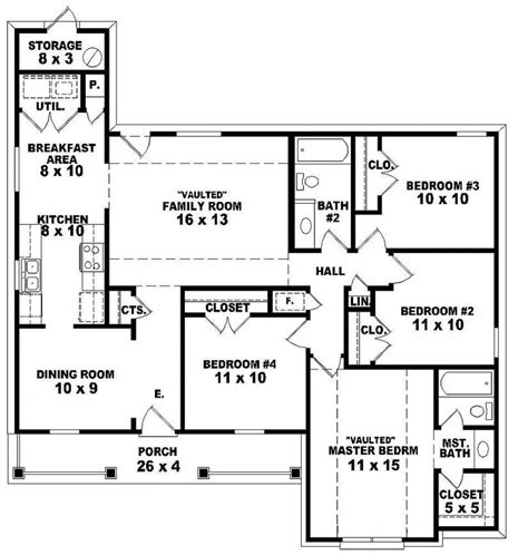 654062 One Story 4 Bedroom 2 Bath Traditional Style House Plan House Plans