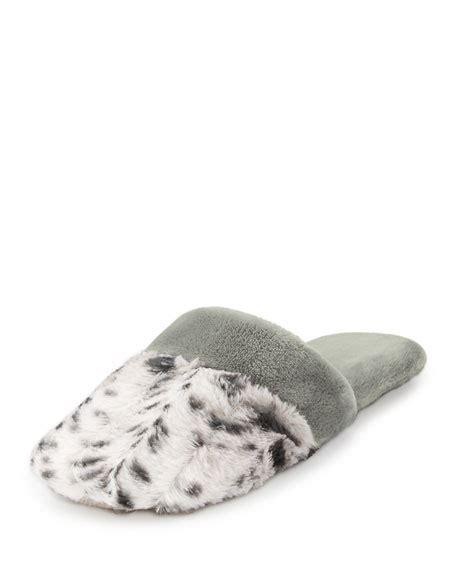 snow leopard slippers natori faux shearling slide slipper snow leopard