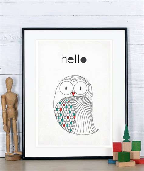 poster kinderzimmer skandinavisch skandinavische plakat eule print skandinavischen stil