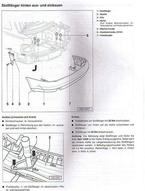 Audi A4 B5 Sto Stange Vorne Abbauen by Wie Baue Ich Beim Audi A4 Mod B5 Hinten Den Stossf Nger A