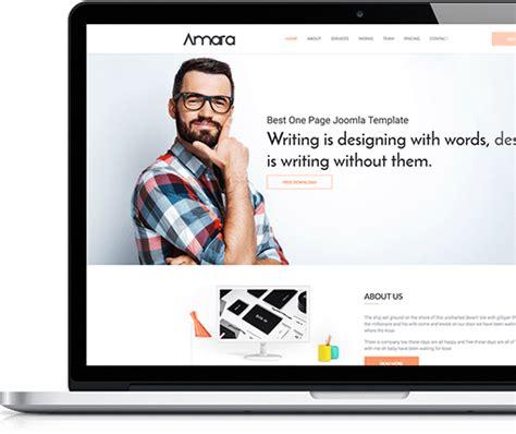 One Page Joomla Template Free Wt Amara Joomla One Page Template Free