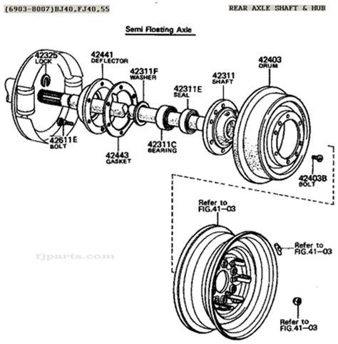 fj40 fj45 fj55 fj60 fj62 rear axle shaft and hub