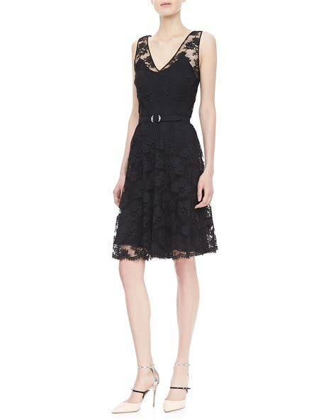 ralph black label rhys belted lace dress black in