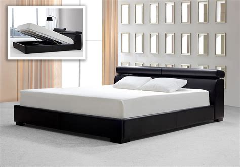 w bed logan black leatherette platform bed w storage