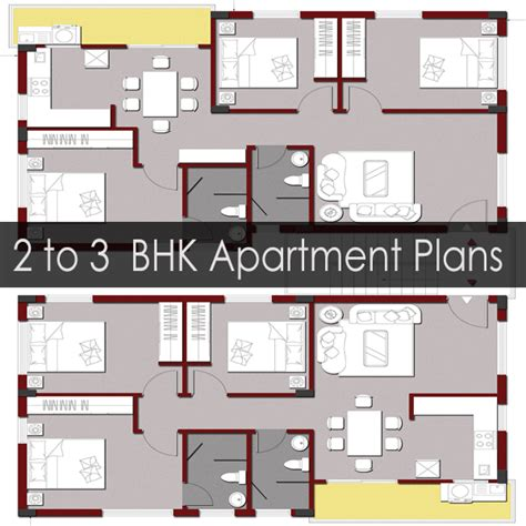 apartment building floor plans for 2 or 3 bhk flats on a