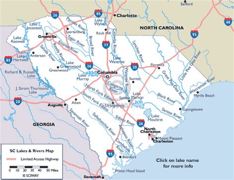 map of carolina rivers map of south carolina lakes and rivers