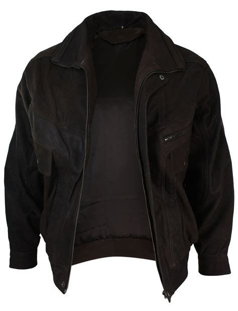 Jaket Bomber Wash Jaket Bomber B Jaket Bomber Jaket mens classic bomber black nubuck washed brown real leather jacket ebay