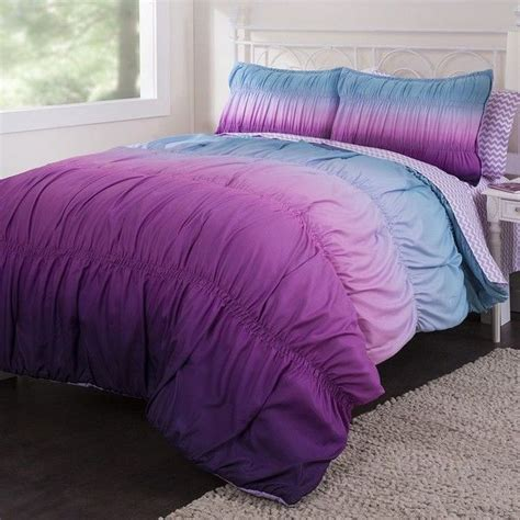 ombre comforter set ombre rouched reversible bed in a bag set purple 90