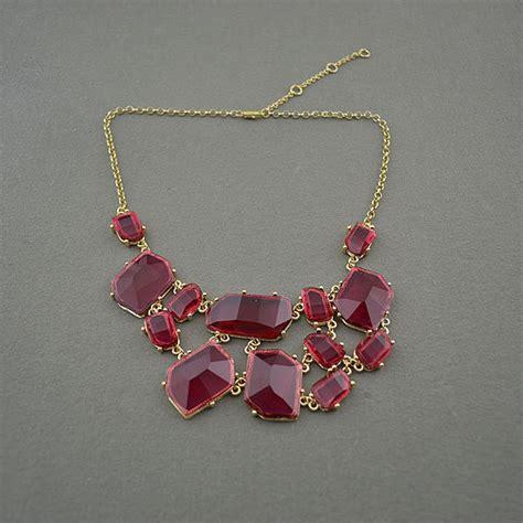 burgundy translucent bib statement necklace