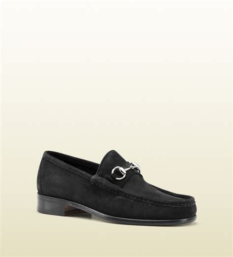 black gucci loafers lyst gucci horsebit loafer in suede in black for