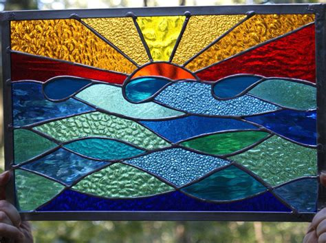 Ocean sunset stained glass panel window suncatcher original design ocean sunset stained glass