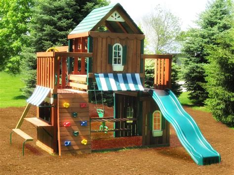 big kid swing set juneau wood complete play set kit swing n slide wood