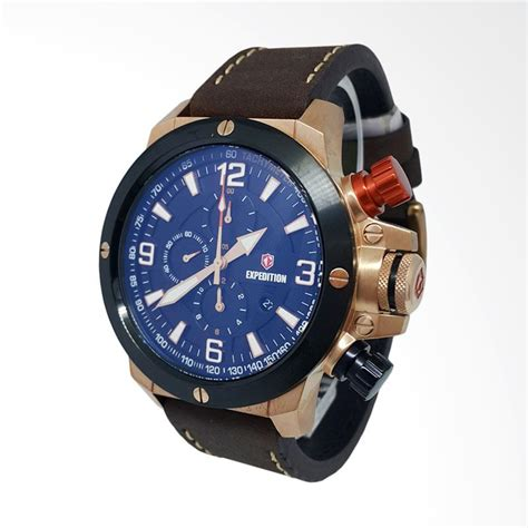 Jam Tangan Hitam jual expedition chronograph tali kulit jam tangan pria hitam gold coklat 140660