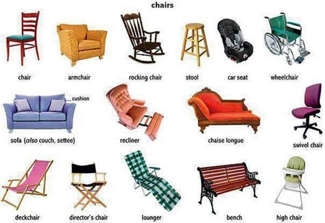 spanish word for couch chairs and the different types learning english