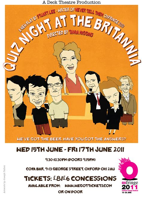 Play Design Home Online quiz night at the britannia poster joseph bloggs