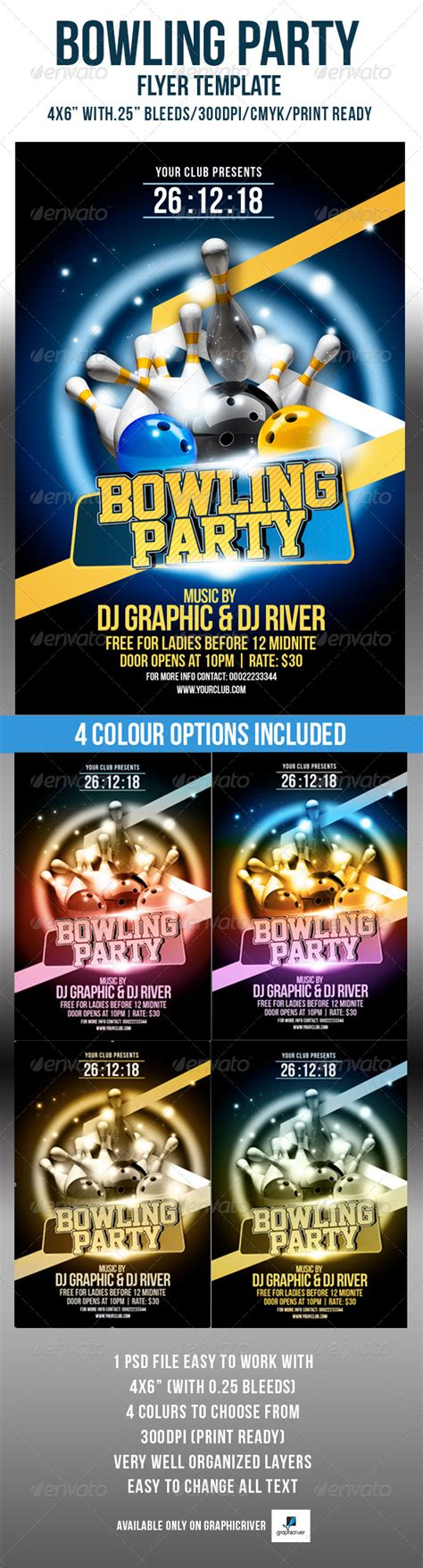 Bowling Party Flyer Template By Crabsta52 Graphicriver Bowling Event Flyer Template