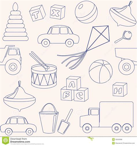 pattern drawing toy seamless pattern with toys outlines royalty free stock
