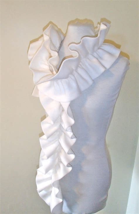 Ruffle Shawl Collar Wrap Shirt fleece scarf with elastic ruffle to make