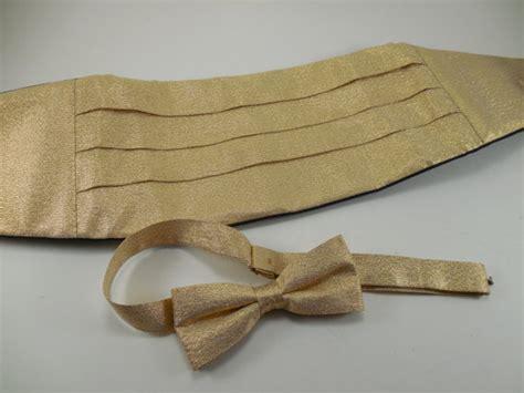 vintage metallic gold lurex lame bow tie cummerbund two