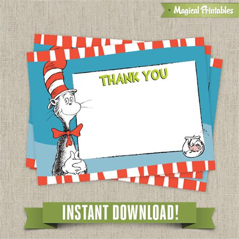 thank you card editable template dr seuss cat in the hat editable birthday thank you cards