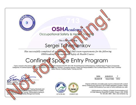 confined space card template hse certification