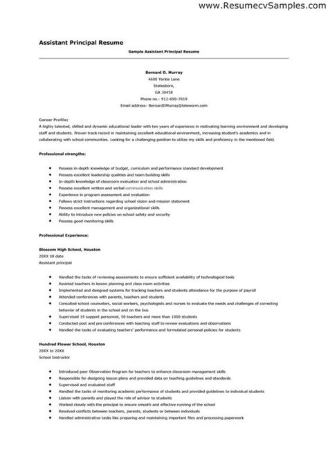 Assistant Principal Resume by Best Assistant Principal Resume Exles The Resume Has To