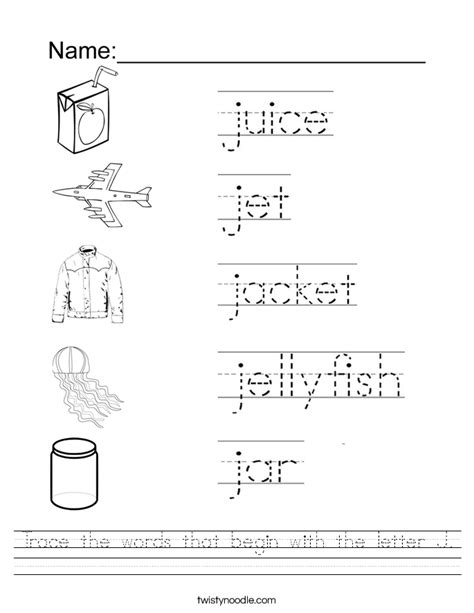Letter J Worksheets by Trace The Words That Begin With The Letter J Worksheet