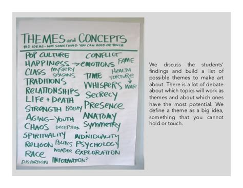 themes list for art their work not mine the student centered studio