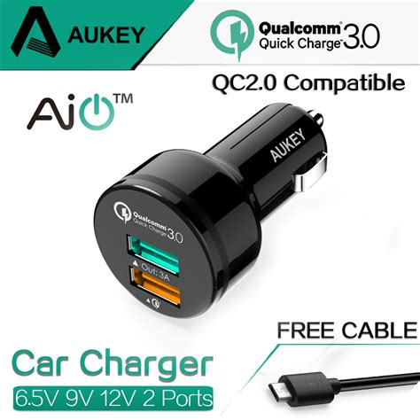 Qualcom Charge 3 0 Tech 3 Port Usb Aukey aukey for qualcomm charger 3 0 9v 12v 2 ports mini usb car charger for iphone 6s