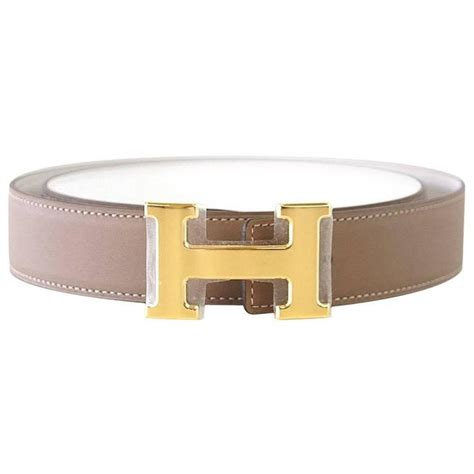 hermes belt reversible etoupe white with gold buckle 85 cm at 1stdibs