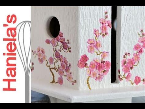 Napkin Decoupage On Wood - napkin decoupage on textured wood cherry tree bird house