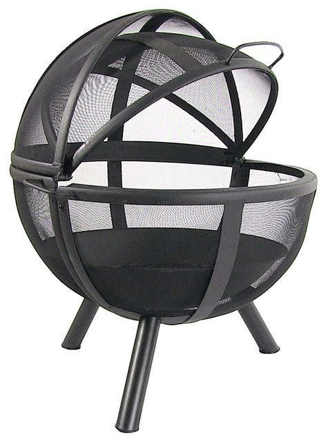 sunnydaze flaming ball fire pit 29 quot diameter sphere black contemporary fire pits by