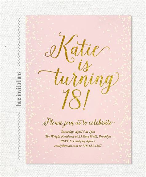 18th birthday invitation templates free pink gold glitter 18th birthday invitation for by