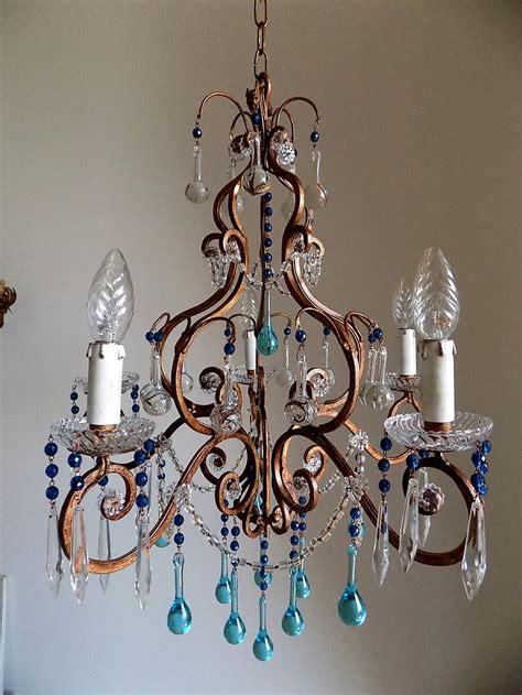 antique white wrought iron small chandelier with murano florence vintage wrought iron birdcage chandelier murano drops lorella dia