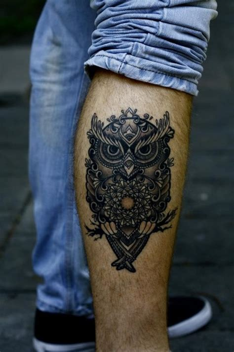 tattoo owl man cool owl tattoo for men on leg1 jpg