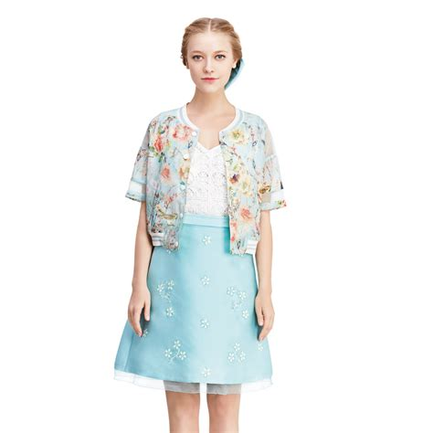 43751 Lightblue Flower Embriodery S M L high fashion 2015 new summer light blue skirts embroidered white flowers in