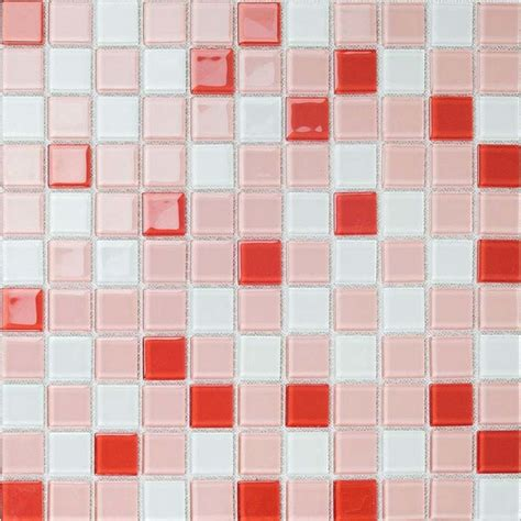 Fun To See Wall Stickers red white mix mosaic brick crystal glass tile bathroom