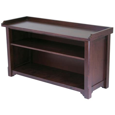 winsome storage bench winsome 174 antique walnut storage hall bench 151321