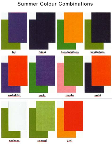 combination of colours japanese colour names seasonal combinations